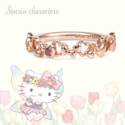 ピンキーリング(Hello Kittyのリボン) シルバー(ピンクゴールドコーティング)