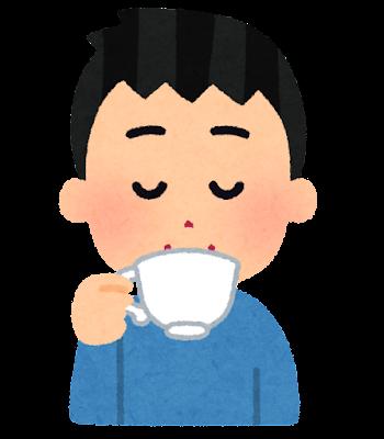 紅茶を飲む人のイラスト(男性)