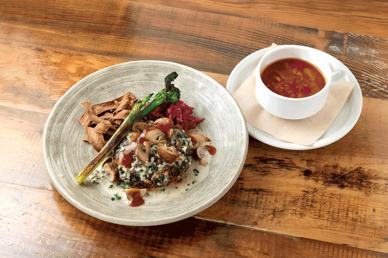 Q CAFEby Royal Garden Cafe(6F) 黒毛和牛と黒豚のハンバーグセット