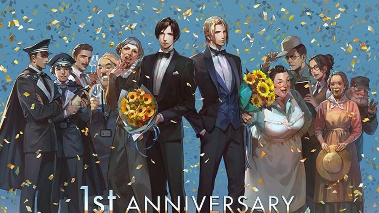 もう1周年!?『囚われのパルマ』1周年記念イラストにスーツ姿がかっこいいハルトとアオイが登場!