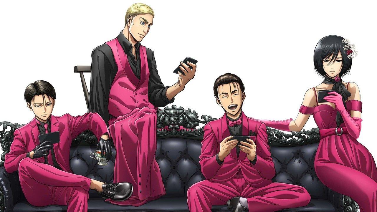 『進撃の巨人』x「GYAO!」描き下ろしビジュアルが公開!ピンクのドレッシーな服装がカッコ良すぎる!