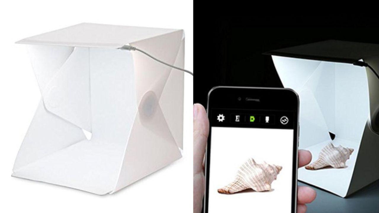 LEDライト搭載「撮影ボックス」のコスパが良すぎる!わずか3秒の簡単組み立てで場所を選ばずに撮影可能