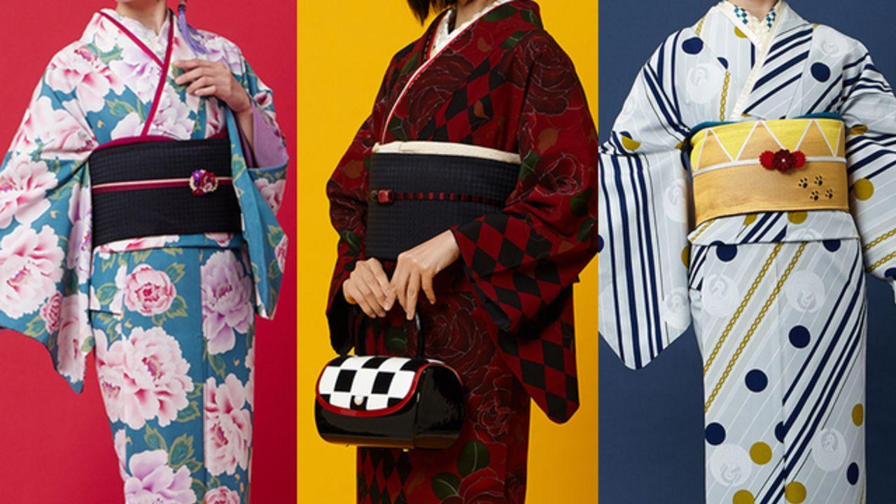 『刀剣乱舞』3振りをイメージしたレトロモダンな小紋の着物&こんのすけモチーフの帯が予約スタート!