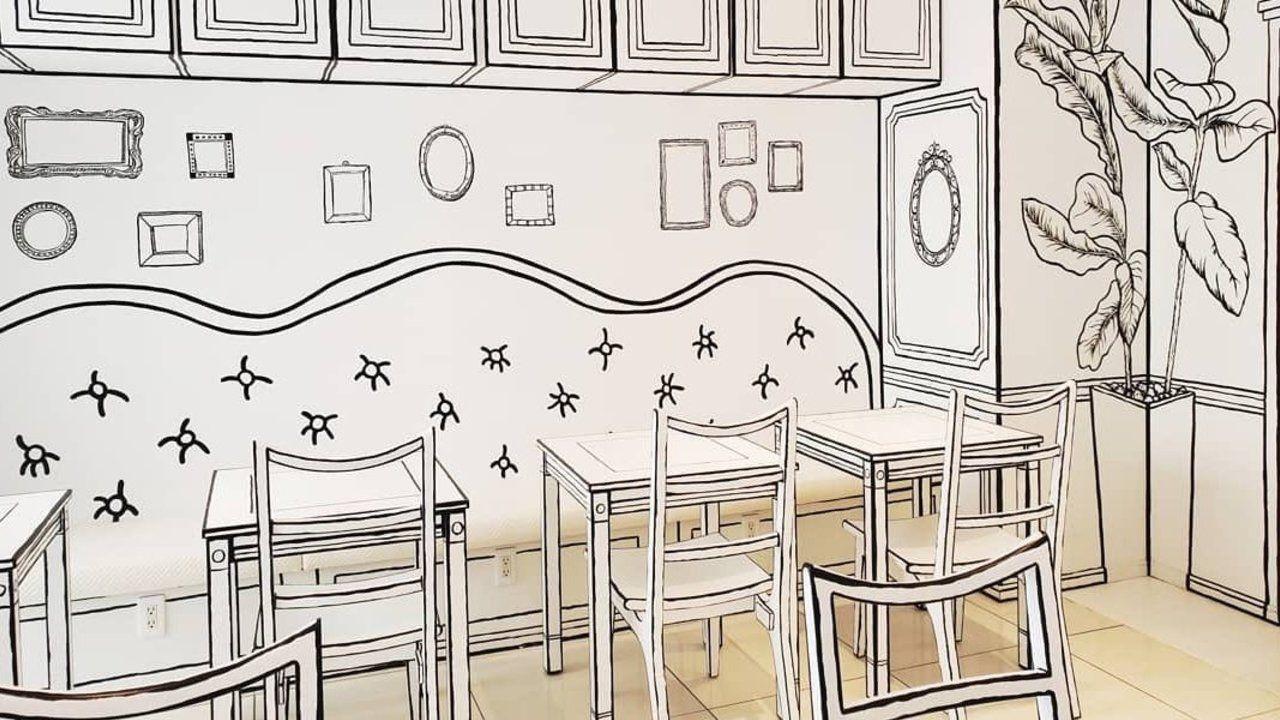 まるで漫画の世界にいるような「2Dカフェ」が話題に!白黒だけのコンセプトでデザインされた不思議なアート空間