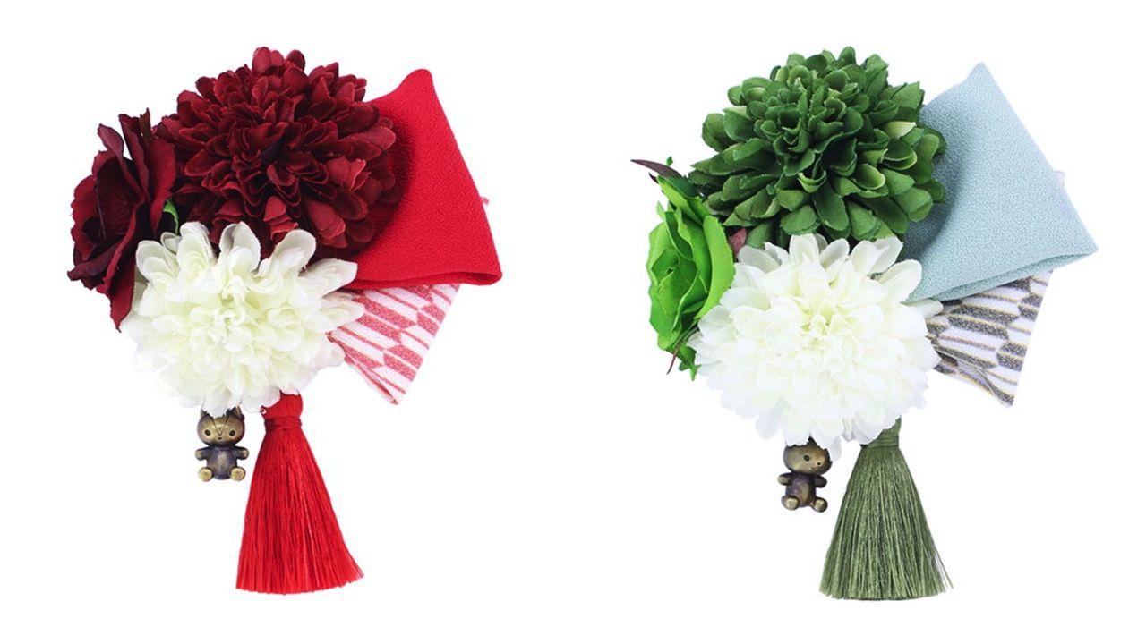 『めいこい』好男子といつでも一緒!咲き誇る花々&矢絣模様のリボンがキュートな「和風髪飾り」