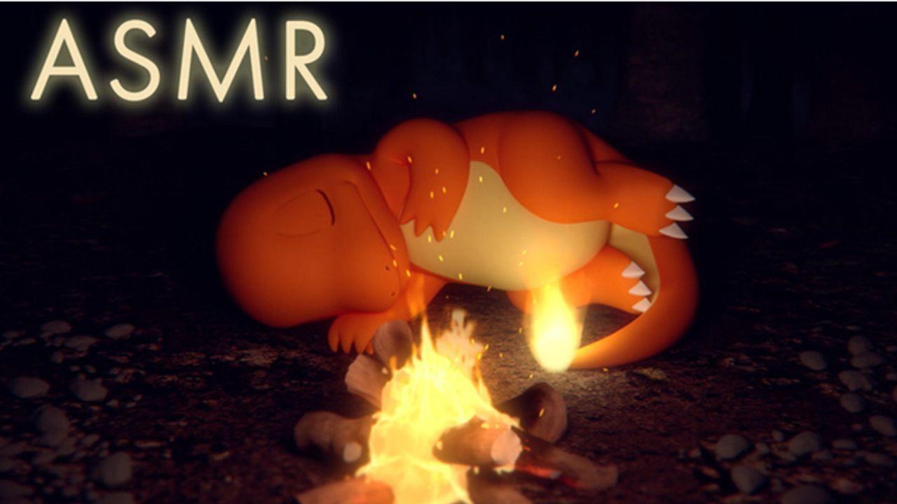 『ポケモン』眠るヒトカゲと焚き火の音に癒される!パチパチという音&揺らめく炎が美しいASMR動画公開