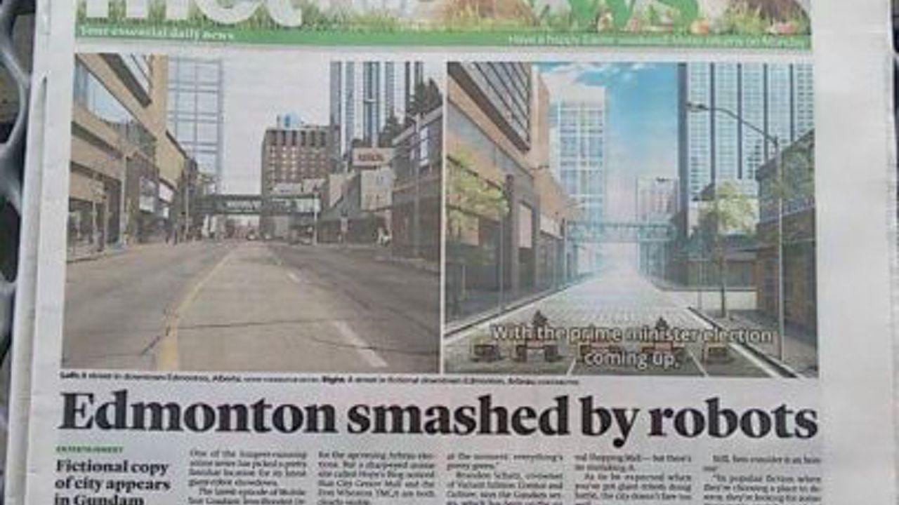 『鉄血のオルフェンズ』カナダ地元紙の一面を飾る!忠実に再現された街並みに歓喜の声