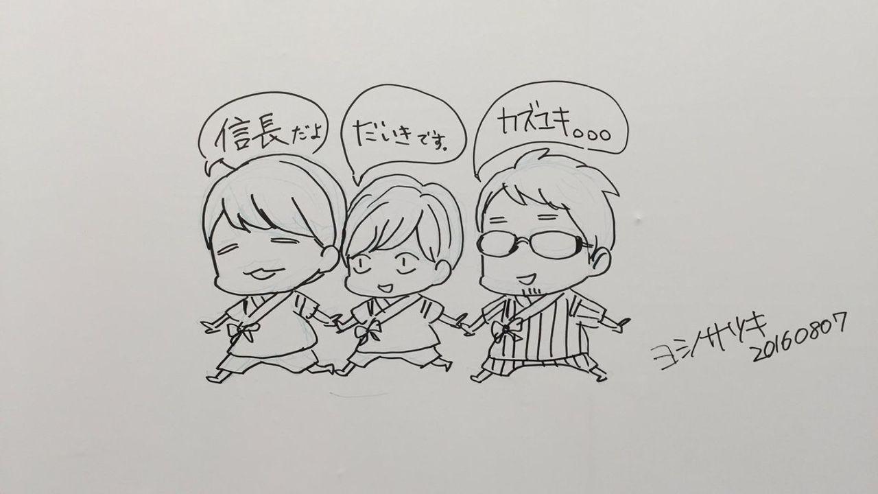 『はんだくん』ミュージアムにて公開収録開催!ヨシノサツキ先生によるキャスト3名の似顔絵が!